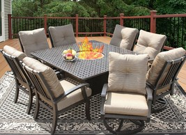 BARBADOS CUSHION 64X64 SQUARE OUTDOOR PATIO 9PC DINING SET - $6,237.99