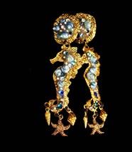 """4"""" seahorse earrings OOAK sea goddess chandelier earrings rhinestone ear... - $125.00"""
