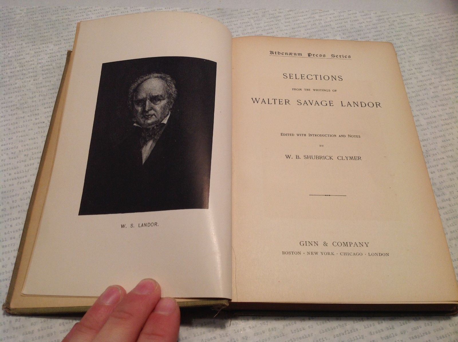 Selections From the Writings of Walter Savage Landor Antique Book