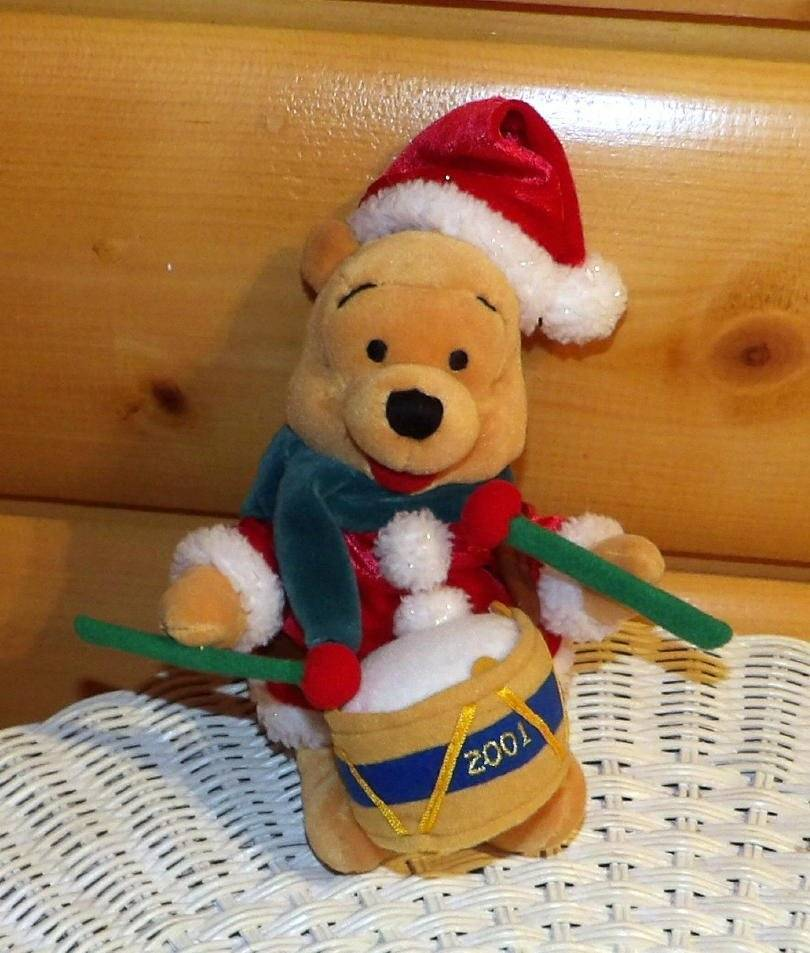"Primary image for Winnie Pooh Disney Store Plush 8"" Holiday Drummer in Red Santa Coat with Cap"
