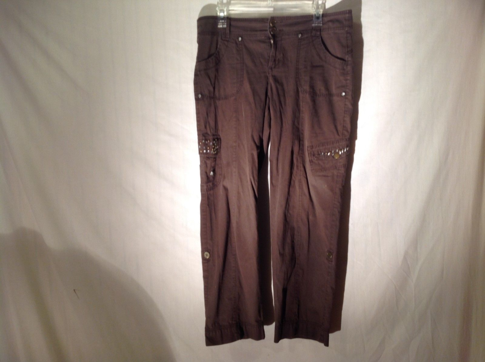 Ladies Style & Co Brown Cargo Pants w Crystals Size 12 Petite