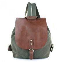 Vintage Retro Leather Canvas Backpack Rucksack Weekend Bag Stachel Carry... - $52.53 CAD