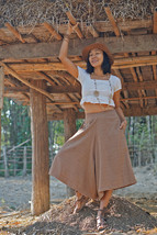 Boho Skirt Pants With Pockets, Wide Leg Pants, Gaucho Pants, Capri Pants - $49.00