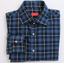 $545 Isaia Slim-Fit Blue Check Shirt 16 x 36 - $94.05