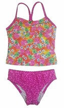 Speedo Girl's Sporty Splice Tankini 2 Piece Swimsuit (16, Pink/Pineapple) NWT