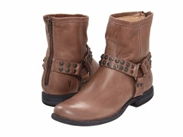 New Women's Frye Phillip Studded Harness Brown Gray Leather Ankle Zip Up... - $190.99