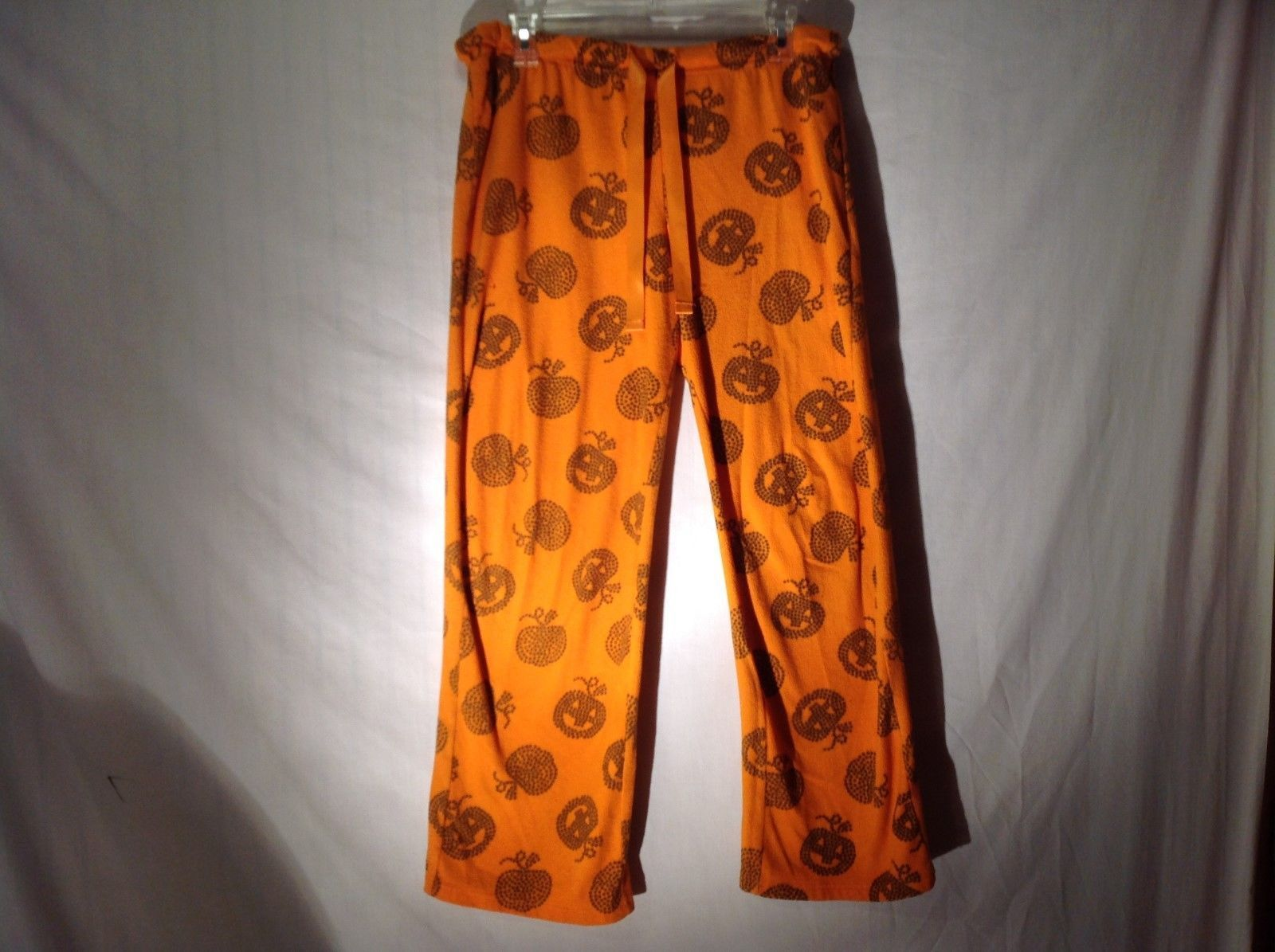 Orange Pumpkin Themed Sweatpants Pajamas Sz Medium 8 10