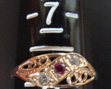 18K Solid Yellow Gold Filigree Natural Ruby Diamond Ring