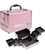 Makeup Train Case Cosmetic Organizer Trays PINK... - $49.49