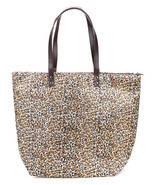 Large Leopard Zippered Shopper Beach Gym Tote Bag  Handbag Purse Shoulde... - $18.18 CAD