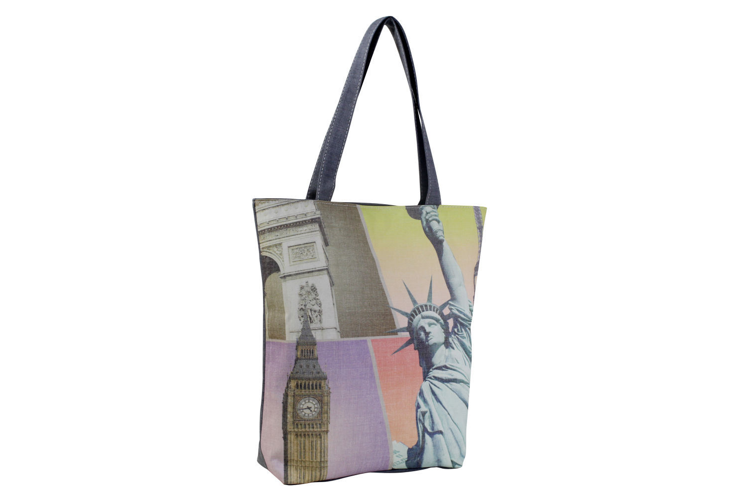 Statue Liberty Big Ben Shopper Beach Gym Tote Bag Handbag Purse Shoulder Gray