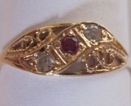 18K Solid Yellow Gold Filigree Natural Ruby Diamond Ring  - $350.00