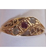 18K Solid Yellow Gold Filigree Natural Ruby Diamond Ring  - $225.00
