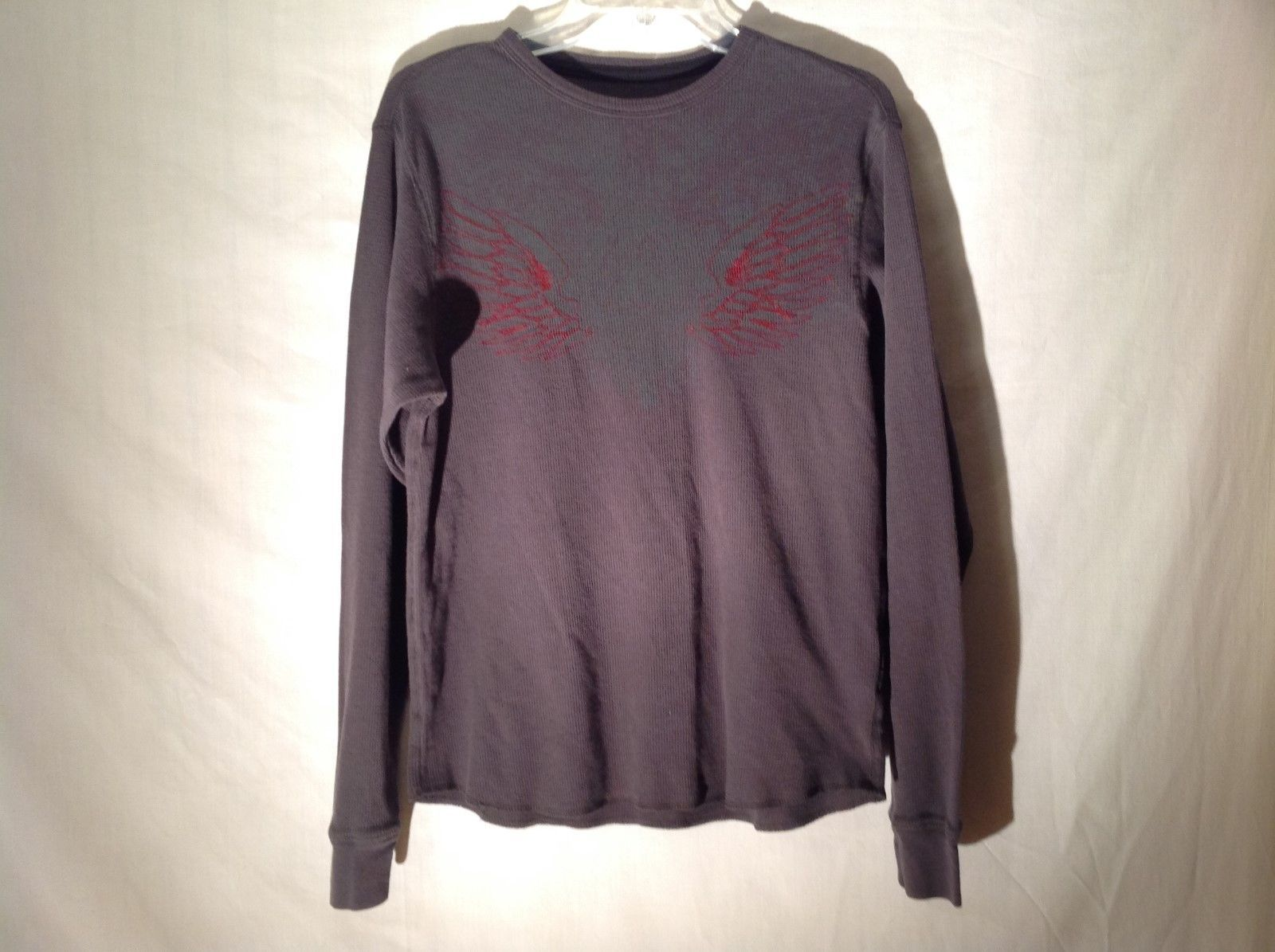J. Ferrar Dark Gray Long Sleeve Red Embroidered Shirt Sz M