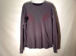 J. Ferrar Dark Gray Long Sleeve Red Embroidered Shirt Sz M