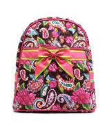 QUILTED BACKPACK PAISLEY FUSCHIA  Over Shoulder Book Tote Bookbag Bag Sl... - $25.74