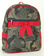 QUILTED BACKPACK Green Camo Red Bow Over Shoulder Book Tote Bookbag Bag ... - $27.72