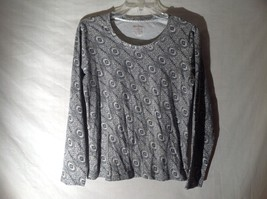 Womens Black White Stretchy Long Sleeve Shirt by White Stag Sz M 8 10 image 1