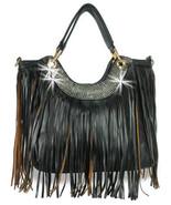Large Fringed Shoulder Bag Tote Black Fashion H... - $45.49