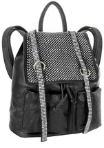 Rhinestone Accent Multi Pocket Tall Fashion Backpack Black Ladies Large New - $43.06