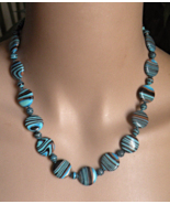 Calsilica Necklace ~ Teal Blue & Brown ~  - $15.00