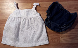 Girl's Size 0-3 M Months Two Piece White Carter's Eyelet Dress & Denim Place DC - $13.00