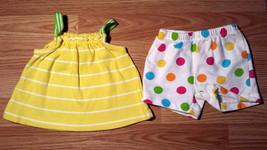 Girl's Size 3-6 M Months Two Pc Carter's Yellow Striped Tank & Polka Dot... - $14.00