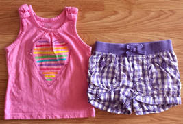 Girl's Size 12-18 M Month 2 Pc Children's Place Pink Sequin Heart Top & Shorts - $11.50