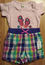 Girl's Size 18 M 12-18 Months 2 Pc Pink Flip Flop Top & NWT J.Beans Plai... - $12.00