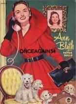 VINTAGE UNCUT 1952 ANN BLYTH PAPER DOLLS REPRODUCTION~GREAT HTF MERMAID ... - $19.50