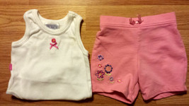 Girl's Size 0-3 M Months Two Piece White Floral TCP Place Tank Top & Pink Shorts - $12.50