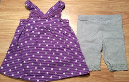 Girl's Size 12 M 9-12 Months Two Pc Purple Silver Dots Top & TCP Place Leggings - $13.00