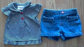 Girl's Size 18 M Months 2 Piece Outfit Striped Ruffled Top & Denim Pocke... - $12.60