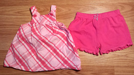 Girl's Size NB Newborn Two Piece Pink Plaid Carter's Dress & Circo Ruffl... - $14.50