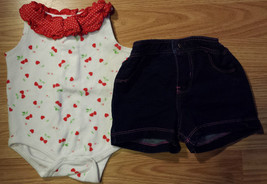 Girl's Sz 3 M 0-3 Months 2 Pc White W/ Red Cherry Starting Out Top, Circ... - $12.00