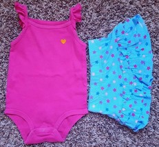 Girl's Size 12 M 9-12 Months 2 Pc Pink Carter's Tank Top & Garanimals St... - $8.00