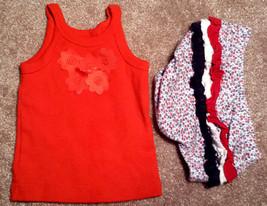 Girl's Size 3 M 0-3 Months 2 Pc Redish Orange Silk Floral Tank Top + Ruffled DC - $12.00