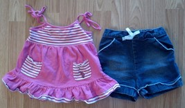Girl's Size 24 M Months Two Piece Pink Striped U.S. Polo Assn. Top & TCP Shorts - $13.00