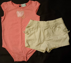 Girl's Size 12 M Months Two Piece Pink Butterfly Embroidered Top & Cream... - $12.10