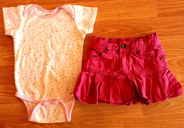 Girl's Size 24 M Months Two Piece White Heart Top & Children's Place Pink Skirt - $13.00