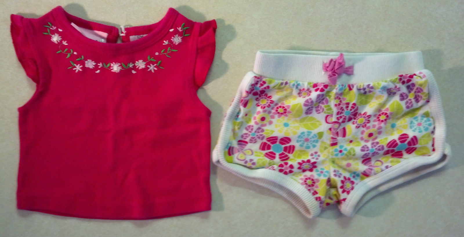 a51aae46b S l1600. S l1600. Previous. Cute Girl's Size 12 M Months 2 Piece Outfit Pink  Floral Embroidered Top & Shorts
