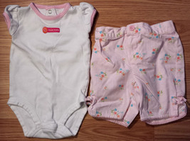 """Girl's Size 6 M 3-6 Months 2 Pc Carter's """"I Love Daddy"""" Top & Pink Floral Capris - $9.00"""