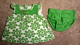 Girl's Size 3 M 0-3 Months 2 Pc Carter's Green/ White Floral Carefree Dress & DC - $9.50