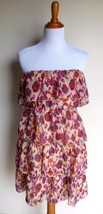 Argee ~ Large Floral Tiered Chiffon Strapless Dress - $12.00