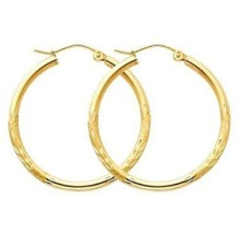 "1"" 2mm X 30mm Diamond Cut Hoop Earrings REAL 10K Yellow Gold - $1.462,96 MXN"