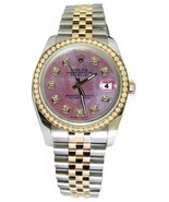 Pink diamond dial Rolex date just watch  jubile... - $3,912.48