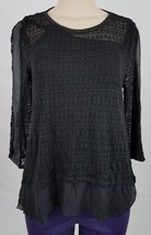 Alfani Womens Black Mixed-Media Knit Top PET/LGE - $14.99