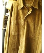 VNTG PERRY ELLIS 3XL FULL BUTTON suede leather shirt jacket beige - $43.00