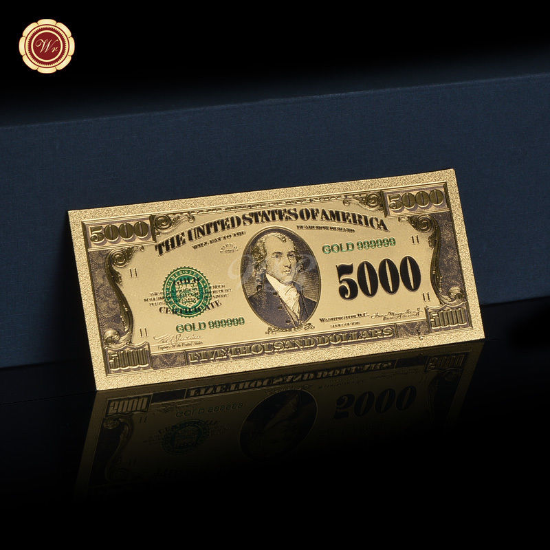 5000 dollar note genuine 24k gold foil plated us banknote for Build a house for under 5000 dollars