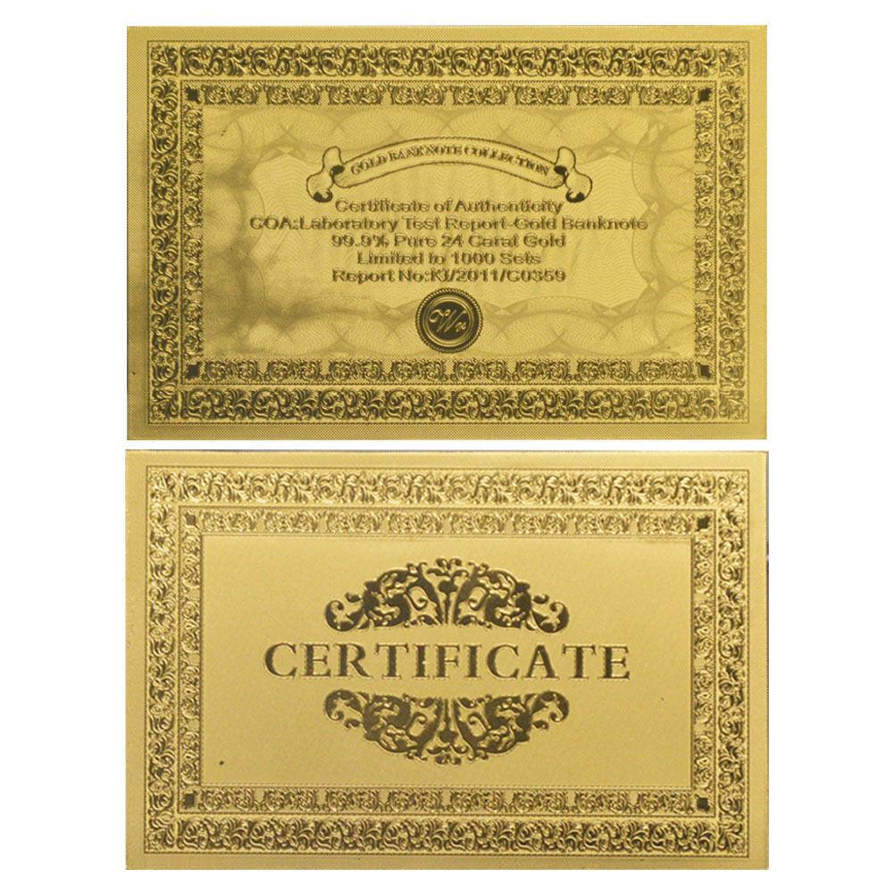 Unique Lot of 10PCS $5000 U.S Bill Real 24k Gold Banknote Dollar Note Free COA